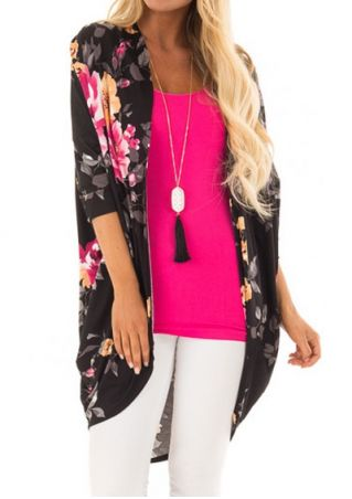 Floral Three Quarter Sleeve Cardigan without Neckalce