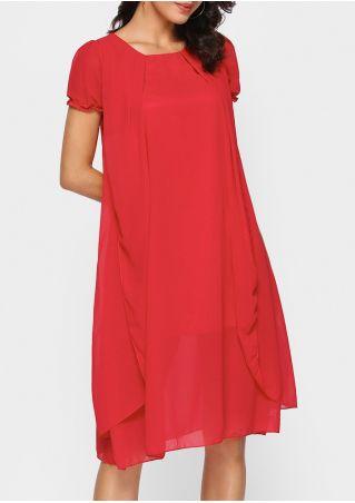 Solid Chiffon Layered Casual Dress
