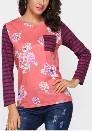 Floral Striped Pocket O-Neck T-Shirt