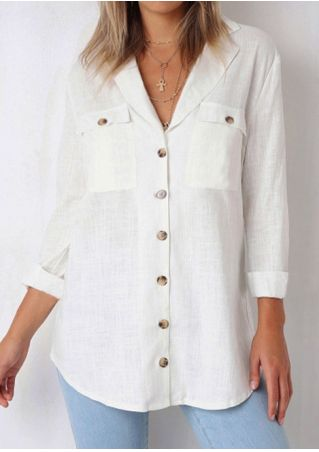 Solid Button Pocket Shirt without Necklace