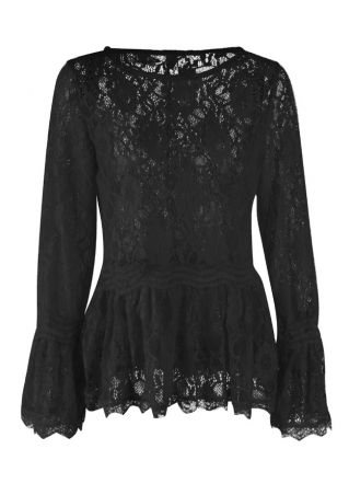 Solid Lace Floral Flare Sleeve Blouse