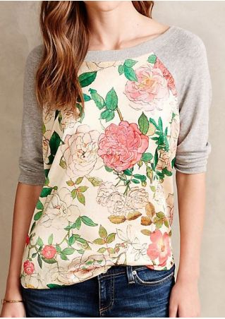Floral Three Quarter Sleeve Baseball T-Shirt