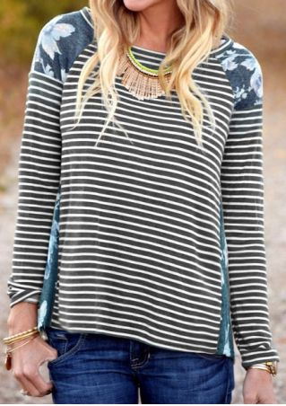 Striped Floral Splicing T-Shirt without Necklace