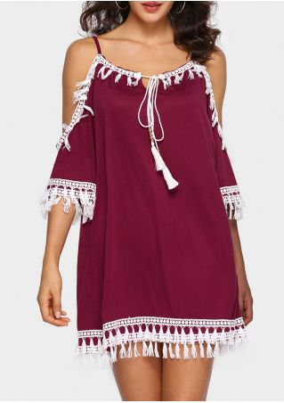 Tassel Splicing Cold Shoulder Mini Dress