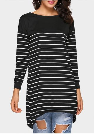 Striped Asymmetric Long Sleeve Blouse
