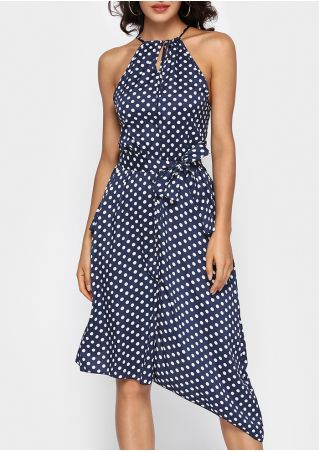 Polka Dot Wrap Flouncing Asymmetric Casual Dress