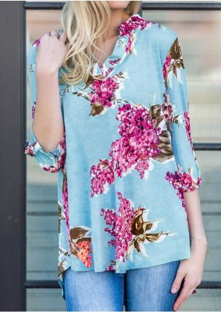 Floral V-Neck Three Quarter Sleeve Blouse