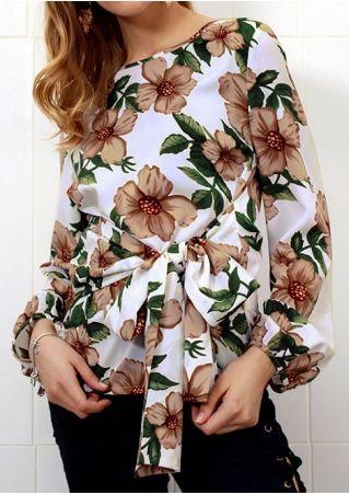 Floral Tie Long Sleeve Blouse