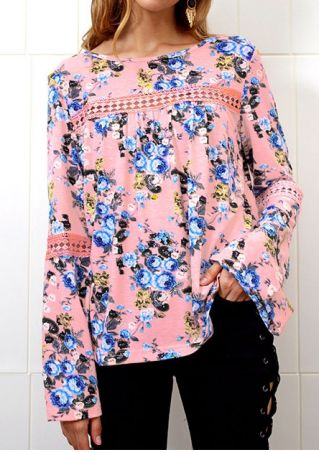 Floral Hollow Out Flare Sleeve Blouse