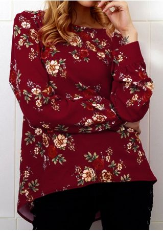 Floral Zipper Long Sleeve Blouse