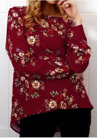 Floral Zipper Long Sleeve Blouse