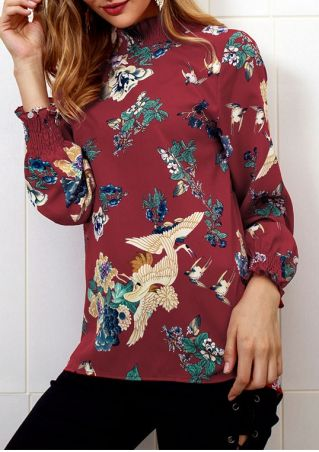 Floral White Crane Long Sleeve Blouse