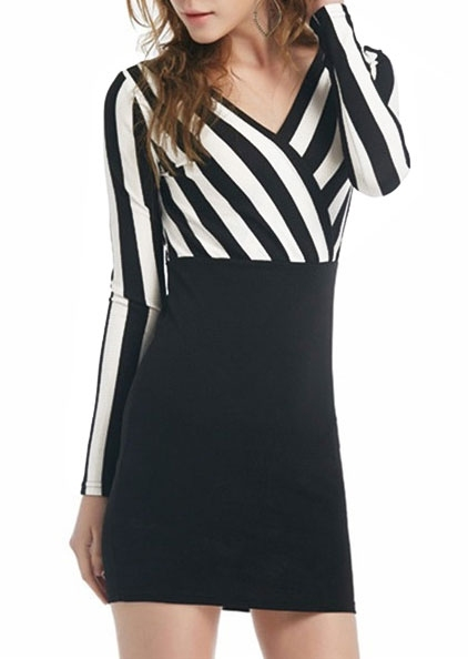 Striped Splicing Wrap Mini Dress 416858