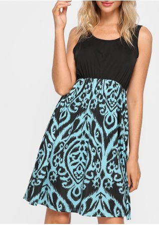 Printed Fashion Mini Dress Without Necklace