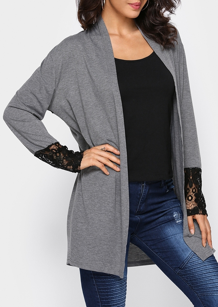 Lace Floral Long Sleeve Cardigan without Necklace