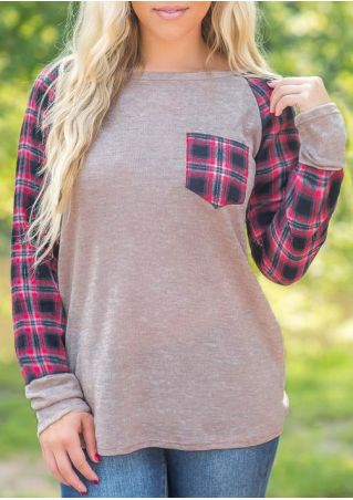 Plaid Splicing Pocket O-Neck T-Shirt