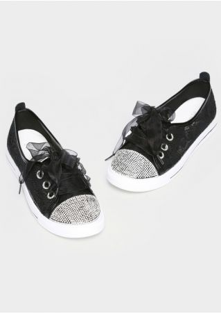 Sequined Lace Floral Mesh Lace Up Sneakers