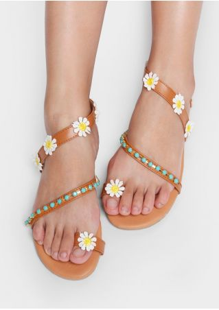 PU Flower Flip Flops Flat Sandals
