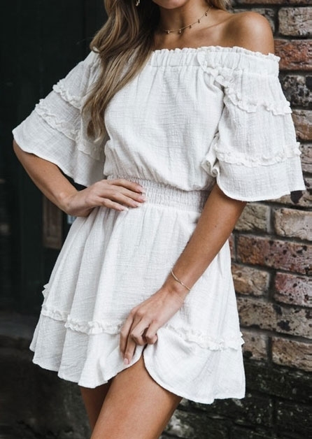 Solid Off Shoulder Frill Mini Dress without Necklace