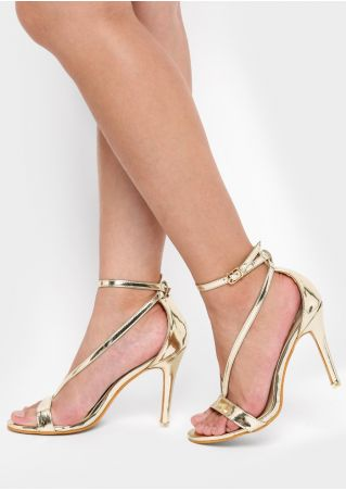 Solid Ankle Buckle Heeled Sandals
