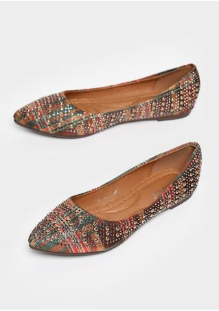 Plaid Imitated Crystal Pointed Toe Flats