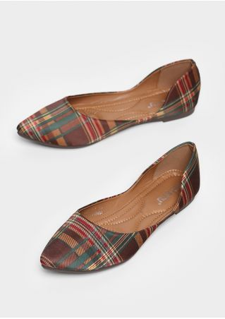 Plaid Pointed Toe Slip-On Flats
