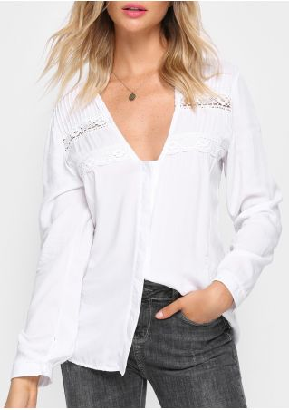 Solid Lace Floral Button Blouse without Necklace