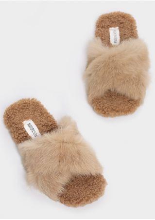 Solid Faux Fur Cross Slippers