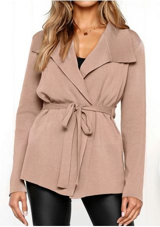 Solid Kintted Tie Coat without Necklace