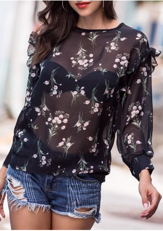 Floral Ruffled Three Quarter Sleeve Blouse