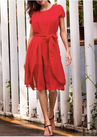Solid Chiffon Layered Casual Dress