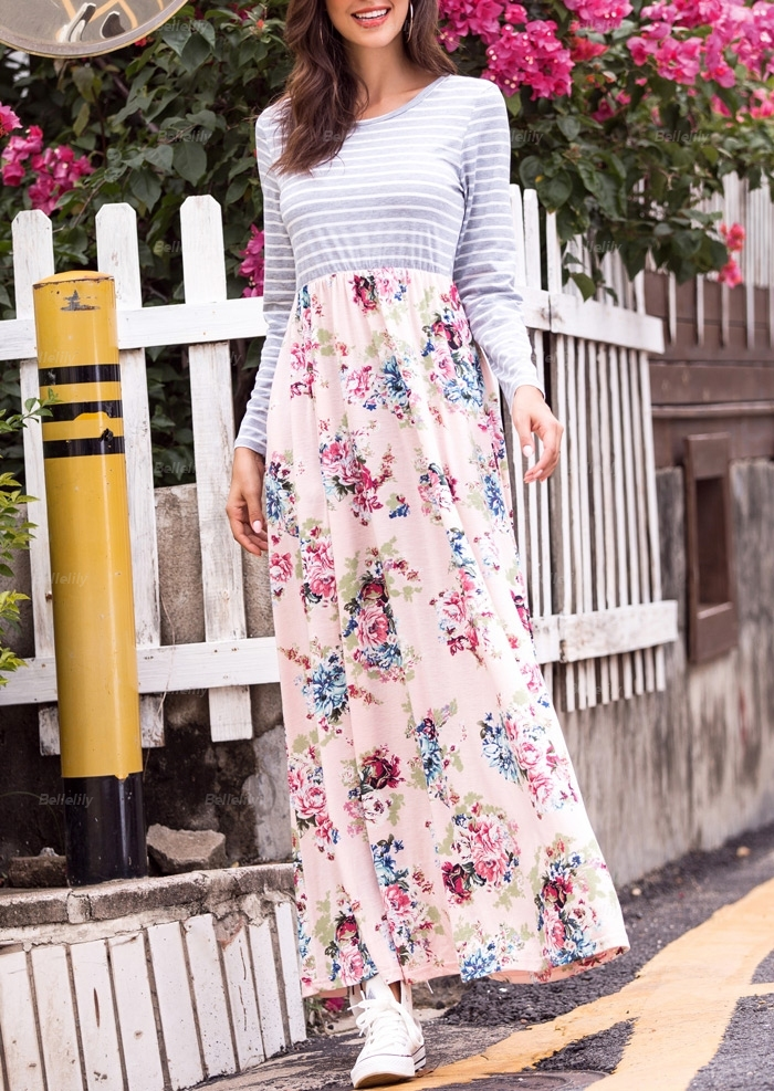 Striped Floral Pockest Maxi Dress 414136