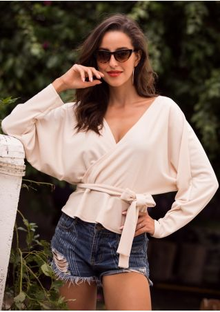 Solid Wrap Backless Blouse with Belt