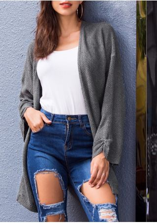 Solid Knitted Asymmetric Long Sleeve Cardigan