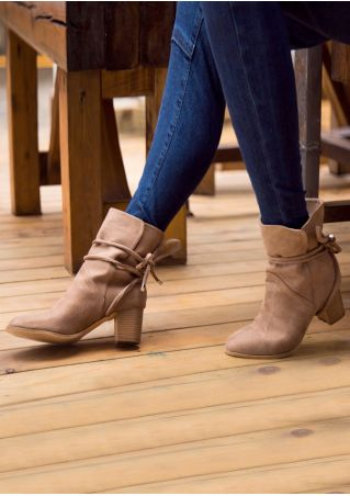 Solid Lace Up Heeled Boots