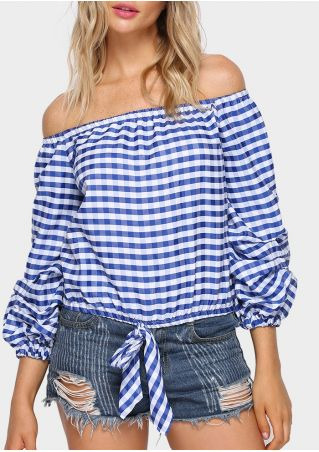 Plaid Tie Off Shoulder Blouse