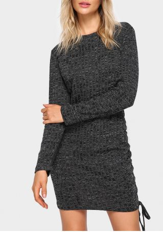 Solid Knitted Drawstring Bodycon Dress