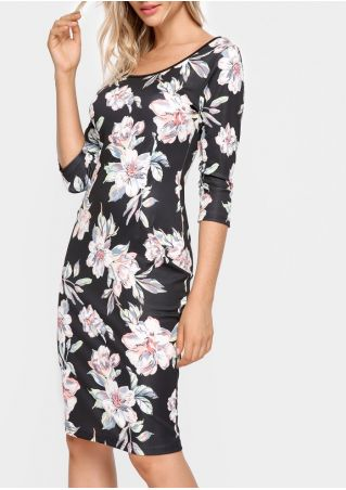 Floral Zipper Three Quarter Sleeve Bodycon Dress