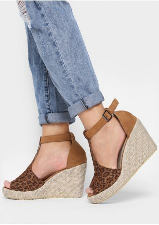 Leopard Buckle Wedge Sandals