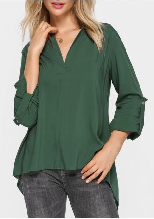 Solid Tab-Sleeve Asymmetric Blouse without Necklace