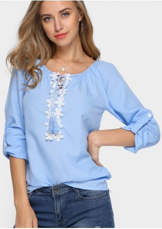 Lace Floral Tab-Sleeve Blouse without Necklace