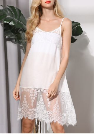 Solid Lace Floral Spaghetti Strap Mini Dress
