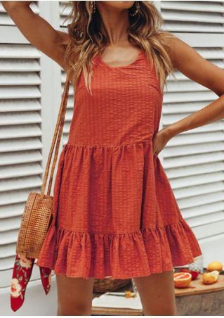 Solid Ruffled Spaghetti Strap Mini Dress
