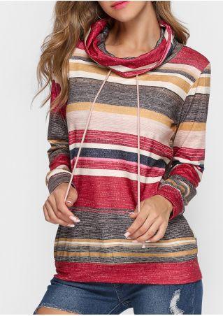 Striped Drawstring Cowl Neck Blouse