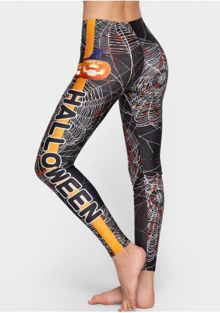 Halloween Pumpkin Blood Spider Web Leggings