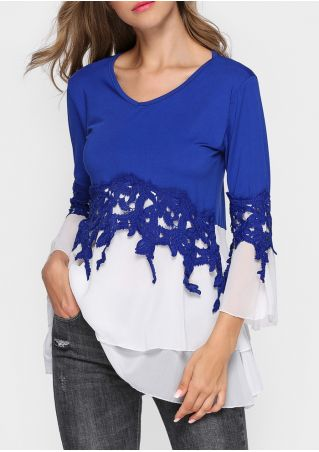 Chiffon Lace Splicing Layered Flare Sleeve Blouse