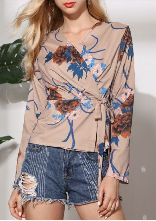 Floral Wrap Tie Long Sleeve Blouse
