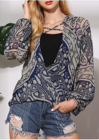 Paisley Criss-Cross Wrap Deep V-Neck Blouse