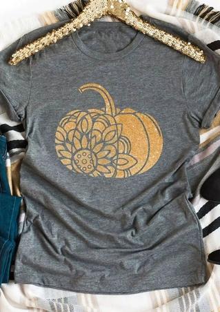 Floral Pumpkin Short Sleeve T-Shirt Tee
