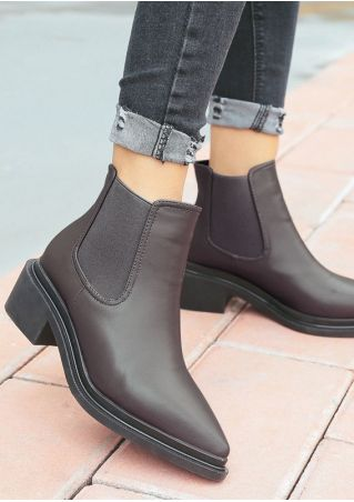 Solid Pointed Toe Ankle Boots